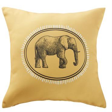 Coussin d'extérieur jaune imprimé éléphant noir 45x45