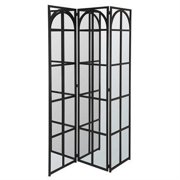 Paravent 3 vantaux miroir en métal noir LOTHAIRE