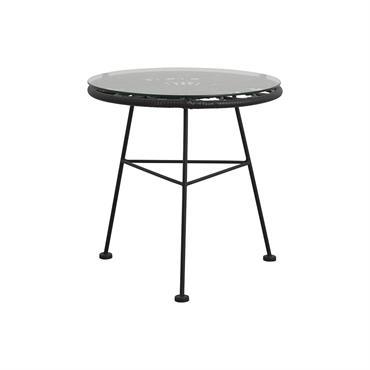 Petite table basse ronde en verre extérieur