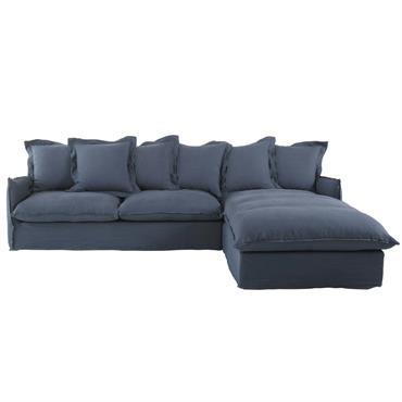 À la recherche du canapé idéal pour recevoir vos proches ? Craquez pour le canapé d'angle droit 7 places BARCELONE. Ambiance cocooning assurée grâce à ses cinq coussins de dos ...