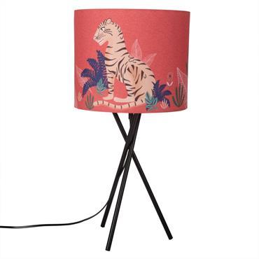 Lampe en métal et abat-jour rouge imprimé tigre