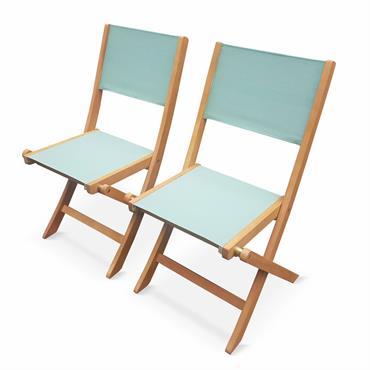 Lot de 2 chaises de jardin en bois vert de gris