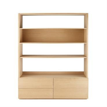Bibliothèque meuble TV 2 tiroirs Norman