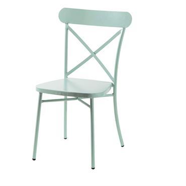 Chaise de jardin bistrot en métal vert d'eau Tradition Outdoor