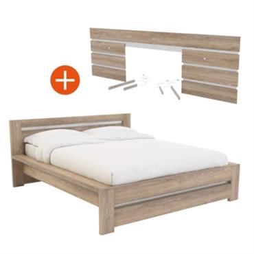 Lit Aaron Dimensions utiles : Tête de lit : - Traverse : 100 x 38 mm. - Montant : 140 x 38 mm. Pans de lit : - Traverses : ...
