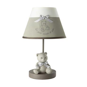Lampe de chevet en résine et abat-jour coton gris H 39 cm OURSON