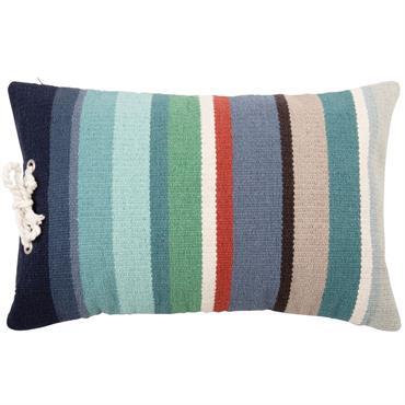 Coussin en coton motif à rayures multicolores 40x60