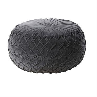 Pouf tressé en coton noir effet velours