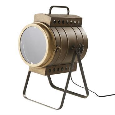 Lampe projecteur en métal coloris bronze effet vieilli