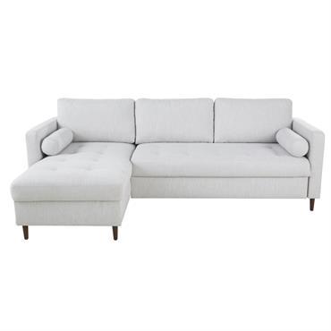 Canapé d'angle convertible 4 places gris chiné Olivia