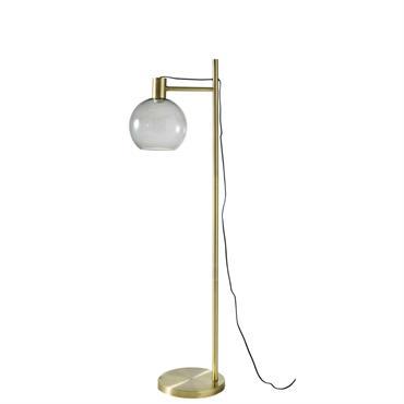Lampadaire en métal doré et verre fumé H143