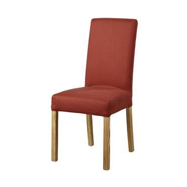 Housse de chaise en lin terracotta