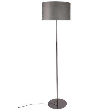 Lampadaire en métal et abat-jour en velours noir H150