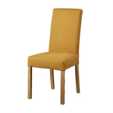 Housse de chaise en lin ocre