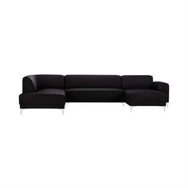 Canapé d'angle droit 6 places toucher lin noir