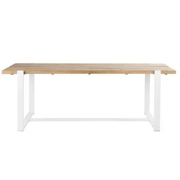 Table à manger 6/8 personnes en pin recyclé et métal blanc L220 Locmaria