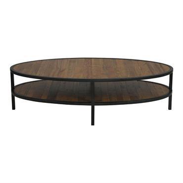 Table basse ovale industrielle en bois recyclé et métal - Empreintes