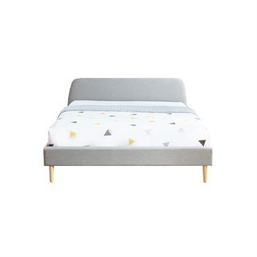 Lit 160x200 gris clair avec sommier à lattes et tête de lit