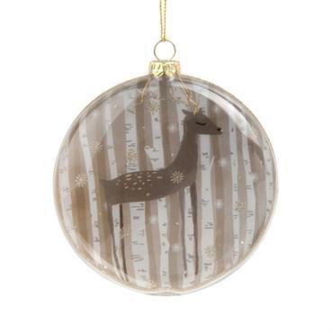 Suspension de Noël médaillon en verre imprimé cerf