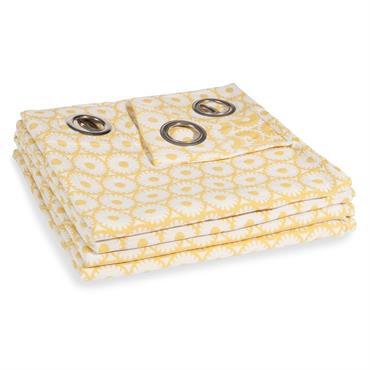 Rideau à illets en coton motifs jaunes à l'unité 140x250