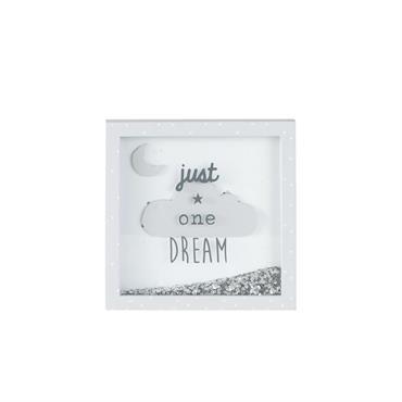 Cadre imprimé nuage à paillettes gris et argenté 20x20