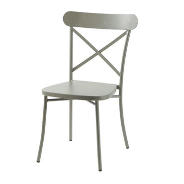 Chaise de jardin bistrot en métal vert kaki Tradition Outdoor
