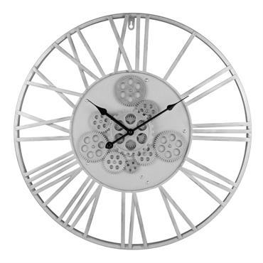 Horloge à rouages en métal gris anthracite D57