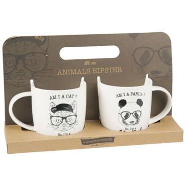 Coffret 2 mugs en porcelaine imprimé chat et panda