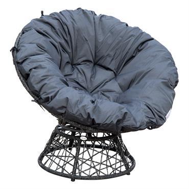 Fauteuil papasan pivotant grand confort gris