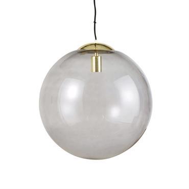 Suspension boule en verre fumé et métal doré