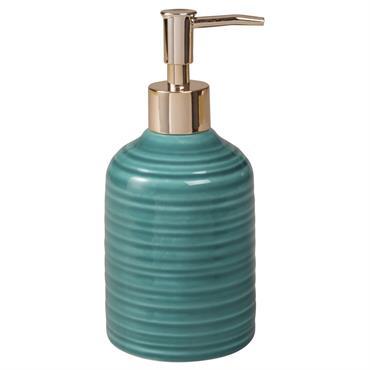 Distributeur de savon en céramique bleue