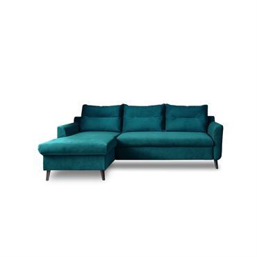 Canapé d'angle gauche convertible 4 places Tissu Bleu canard