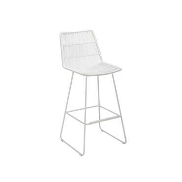 Chaise de bar d'extérieur en métal blanc