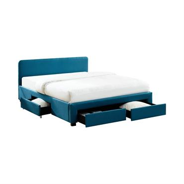 Lit à tiroirs en tissu bleu canard 140x190 avec sommier
