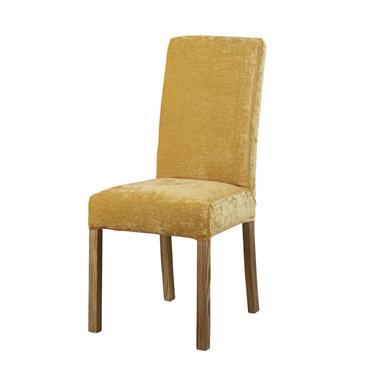 Housse de chaise en velours jaune moutarde