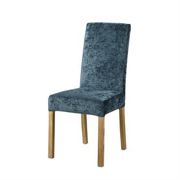 Housse de chaise en velours bleu orage
