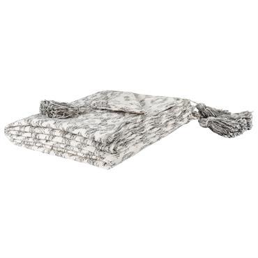 Plaid en coton écru motifs fantaisies noirs 160x210