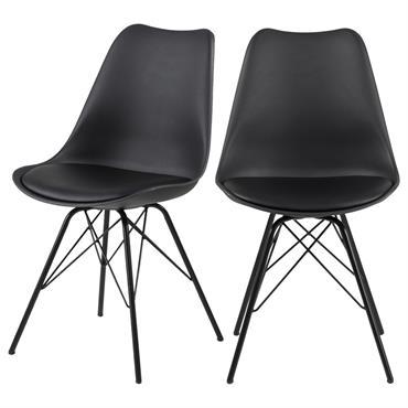Lot de 2 chaises salle à manger smilicuir noir