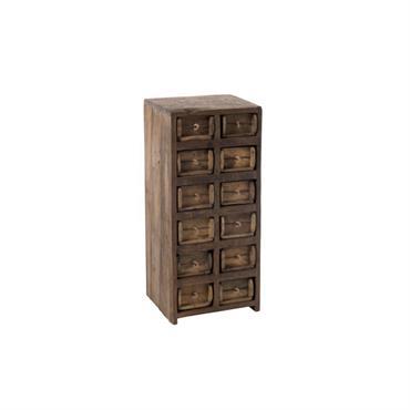 Commode haute 12 tiroirs en bois recyclé
