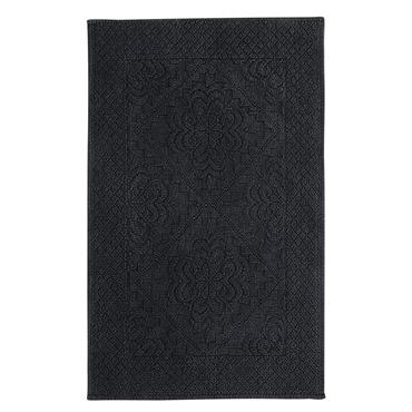 Tapis de bain en coton noué gris anthracite 50x80