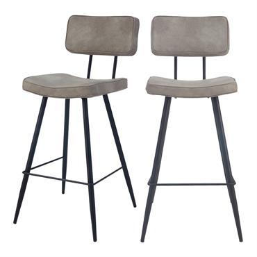 Chaise de bar mi-hauteur 65 cm en cuir synthétique gris