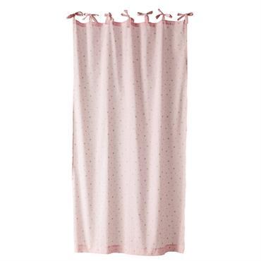 Rideau à nouettes en coton rose 102x250