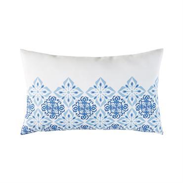 Coussin d'extérieur blanc motifs carreaux de ciment bleus 30x50