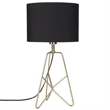 Lampe filaire en métal doré abat-jour en coton noir CROSSY GOLD