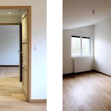 Aménagement d'un appartement dans une surélévation sur un garage existant. L'appartement accueille un séjour, une chambre, une salle de bain ... Domozoom
