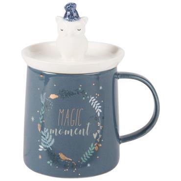 Mug avec couvercle hibou en porcelaine bleu nuit