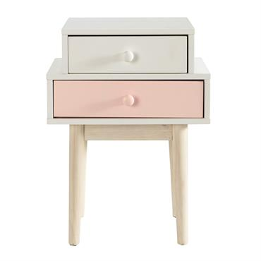 Table de chevet 2 tiroirs blanche et rose Blush