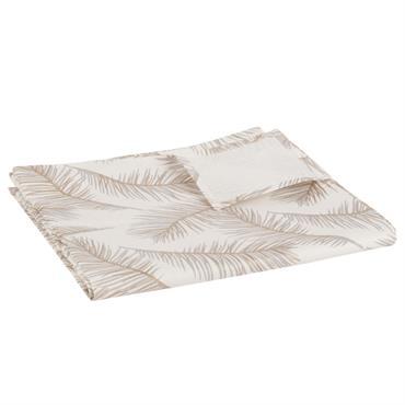 Nappe en coton enduit imprimé plumes 140x250