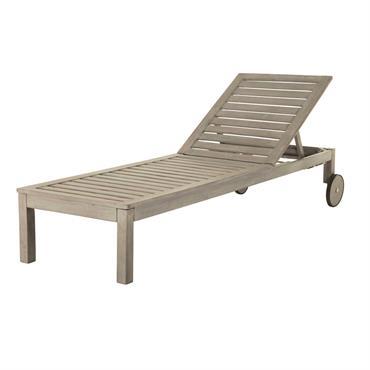 Bain de soleil à roulettes en acacia grisé Jersey