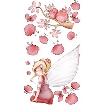 Sticker enfant - Fée assise et papillons